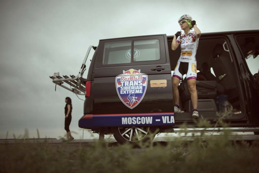 Paola Gianotti from Italy prepares to swap with her partner during the 5th stage Omsk-Barabinsk at the Red Bull Trans-Siberian Extreme race in Russia on July 21st, 2015. // Denis Klero/Red Bull Content Pool // P-20150722-00031 // Usage for editorial use only // Please go to www.redbullcontentpool.com for further information. //